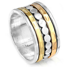 Solid 925 Sterling Silver Spinner Ring Golden Hammered Wide Band Boho Size