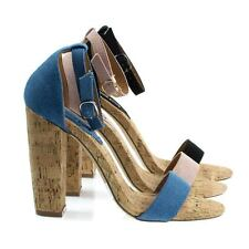 Fay6 Chunky Block Heel Dress Sandal On Faux Cork Texture. Women's Party Shoes