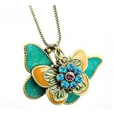 Girls Animal Fashion NEW Vintage Butterfly Rhinestone Floral Pendant Necklace