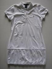 NWT POLO Ralph Lauren Prime White Tennis Dress Pleated Drop Waist Silver Pony