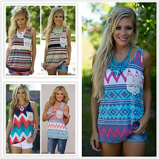 Womens Vest Tops Retro Striped Sleeveless Tank Tops Casual Beach Ladies T Shirt