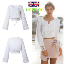 UK Womens Lace Floral T-Shirt Ladies Summer Casual Loose Tops Long Sleeve Blouse