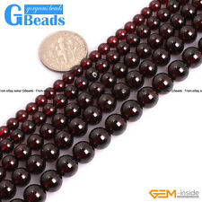 Natural Genuine Grade AAA Dark Red Garnet Gemstone Round Beads Strand 15""