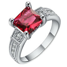 RED Sapphire CZ Wedding Engagement PARTY 18kt  Gold Filled  Ring Size 7-10