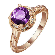 purple Sapphire CZ Engagement Ring 18KT Rose Gold Filled Women's Jewelry 4 size
