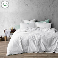 3 Pce Washed Cotton WHITE Quilt Doona Duvet Cover Set - QUEEN KING