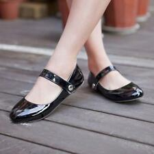 Womens Flat Heel  Round Toe Ankle Strap Patent Leather Casual Sandal Shoes