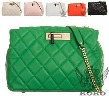 LADIES GOLD CLASP SLOUCH QUILTED FAUX LEATHER PARTY EVENING CLUTCH BAG