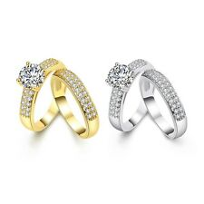 Women 18k Gold Filled Wedding Party Double Rings Zircon Fashion Jewelry