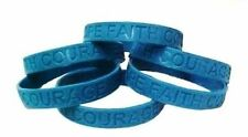 Teal Awareness Bracelets 6 Piece Lot Silicone Wristband Jelly Cancer Cause New