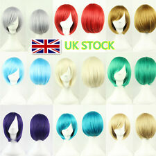 UK Women Short Straight Synthetic Hairpieces Cosplay Party Coloured Hair Bob Wig