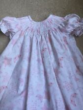 READY TO SMOCK PINK AND WHITE MOON & STARS BISHOP DRESSES SIZES 3 TO 12 MOS