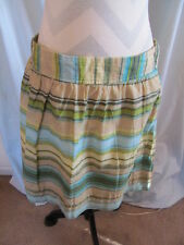 Ann Taylor LOFT Sz 6 Green Beige Striped Mini A-Line Skirt Side Zip Cotton