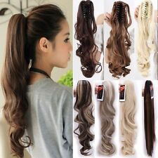 """Lady Clip In Ponytail Pony Tail Hair Extensions Claw On Hair Piece curly 24"""" HT5"""
