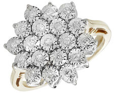 Diamond Cluster Ring Yellow Gold ring Engagement Ring Large cluster size R - Z