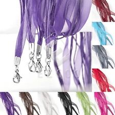 10pcs Cotton Cord Wire Ribbon Clasp Lobster Necklace Jewellery Making 500mm