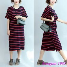 Fashion Womens Short Sleeves Striped Loose Cotton Blend Casual T-Shirts Dress
