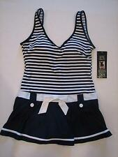 NWT Shore Shapes Drop Waist Belted Look Tennis Club Swimdress Swim Bathing Suit