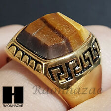 MENS 316L STAINLESS STEEL ARTIFICIAL TIGER EYE STONE GOLD TONE RING 8-12 SB008G