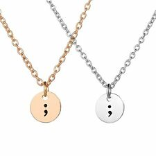Fashion Simple Circle Round Dog Tag Pendant Necklace Chain Women Men Jewelry