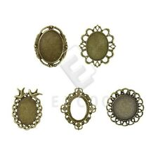 3-10pcs Retro Antique Brass Glue in Cabochon Cameo Setting Pendants Findings HC