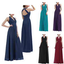 Women Ladies Chiffon Halter V Neck Bridesmaid Dress Long Maxi Evening Prom Gown