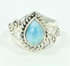 RARE NATURAL LARIMAR TEARDROP CUT  925 STERLING SILVER RING #0082