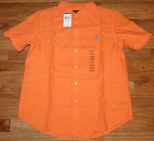 NEW NWT Polo Ralph Lauren Boys Short Sleeve Oxford Dress Shirt Resort Orange *V2