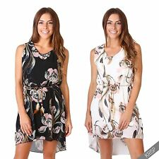 Womens Ladies Floral Chiffon Sleeveless Flared Hi Low Tunic Dress Sundress Party