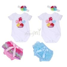 Baby Girls Romper Headband Flower T-shirt Pants 3PCS Infant Outfit Bloomers
