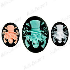 3pcs Resin Flatback Vintage Skull Oval Cabochon Cameo Jewelry Making 25x18 RB577