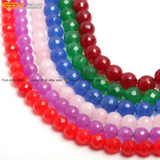 New Assorted Color Round Faceted Jade Making Loose Beads jewelry Strand 15""