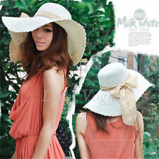 2015 Womens Lady Summer Beach Straw Wide Large Brim Ribbon Bow Sun Hat Cap 092