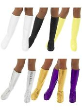 60s 70s PVC Gogo Boot Covers Knee High Ladies Fancy Dress Accessory