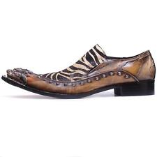 Men's New Fiesso Brown/Yellow Slip on Shoes Silver Pointed Metal Toe FI 6908