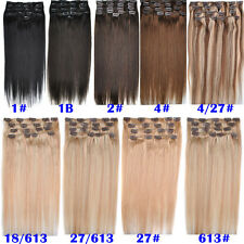NEW 8A 22'' 100g 8pcs/Set 100% Remy Human Hair Clip In Human Hair Extensions