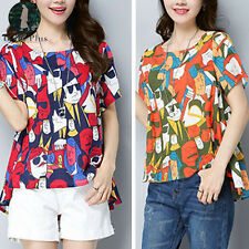 New Women Cotton Short Sleeve Print Tops Blouse Ladies Summer Casual Loose Shirt