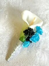 Calla Lily Boutonniere  MANY COLOR ACCENTS  Artificial Silk Wedding Flowers Prom