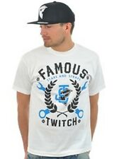 New FAMOUS STARS AND STRAPS White Short Sleeve Cotton Twitch Graphic T-shirt