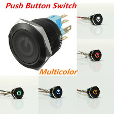 BLACK 22mm 6 Pin Car Metal Led Momentary POWER Push Button Switch IP67 12V SPST