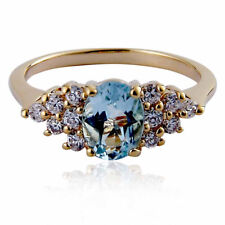 Gold Plated Brass 1.6 Ct Oval Genuine Sky Blue Topaz Engagement Wedding Ring