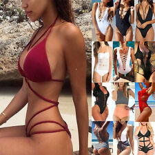 ❉❉❉Sexy Women One Piece Bikini Push Up Padded Bra Monokini Beachwear Swimsuit UK