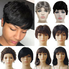 High Style Women Ladies Full Wigs Remy Human Virgin Hair Straight Wave Wig Daily