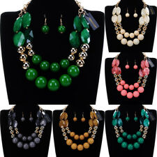 Fashion Gold Chain Resin Pearl Choker Chunky Statement Bib Necklace Earrings New