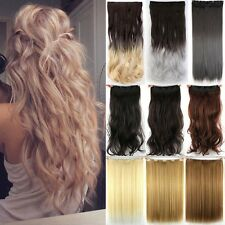 Long Real Full Head Clip In Hair Extensions 100% Natural Ombre HAIR EXTENSION LH