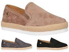New Womens Lightweight Faux Suede Canvas Slip On Casual Boat Loafers Shoes