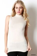 Turtleneck tank top sleeveless mock neck casual shirt stretch slim fit solid top