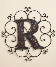 Scrolled Wrought Iron Wall Mount Medallion Grille Monogram Letters