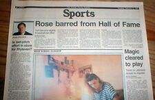 1991 newspaper PETE ROSE is BANNED from the BASEBALL HALL OF FAME Cooperstown NY