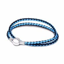 European 925 Blue Leather Silver Charms Bracelet Chain Fit Sterling Charm Beads